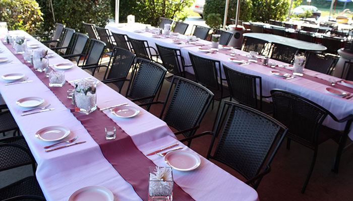 Flanagan's patio set up for a rehearsal dinner